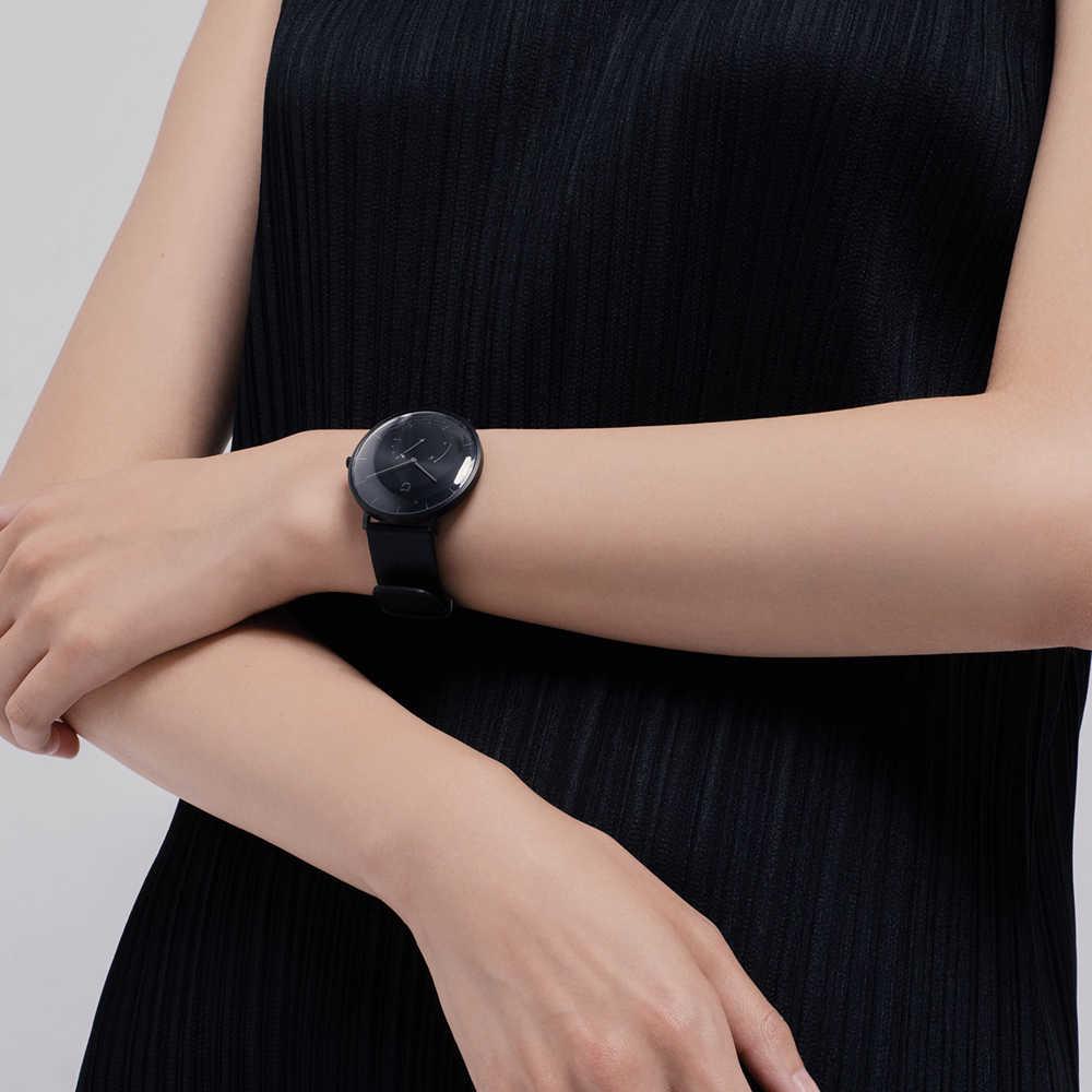 XIAOMI Mi Mijia QUARTZ montre intelligente vie étanche avec Double cadrans alarme Sport capteur podomètre temps bracelet en cuir Mi Home APP