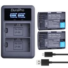 2pc LP E6 LP E6 LPE6 LP E6N Rechargeable Battery LED USB Charger For Canon LP