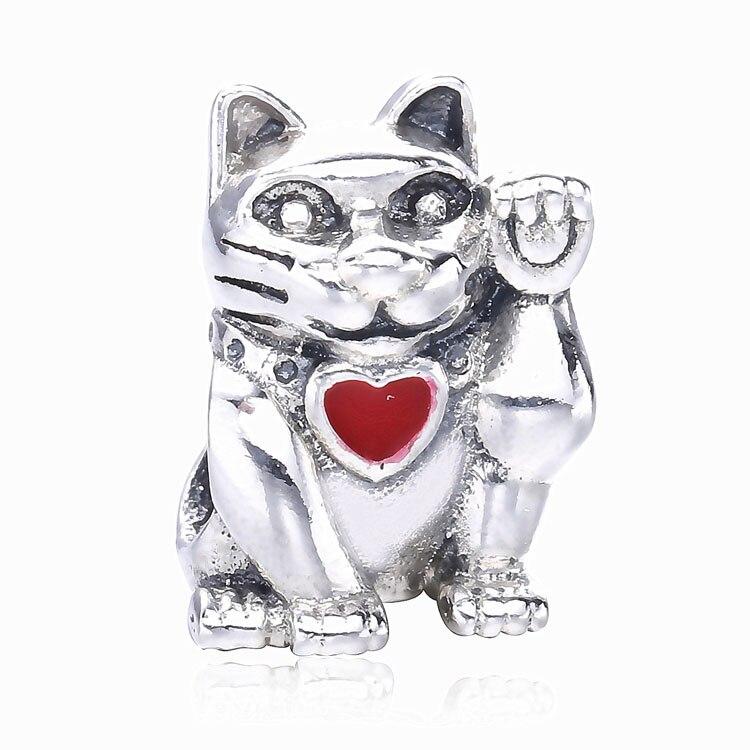 Lovely gifts 925 Sterling silver Maneki Neko lucky cat charm beads fit original pandora charm bracelets