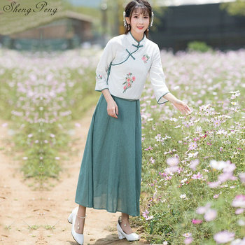 Chinese traditional dress female chinese oriental dresses Han dynasty two piece dress long sleeves linen clothes Q185
