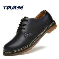 TOURSH Luxury Genuine Leather Men Shoes Brogue Lace Up Platform Fashion Man Flats Casual Male Shoes