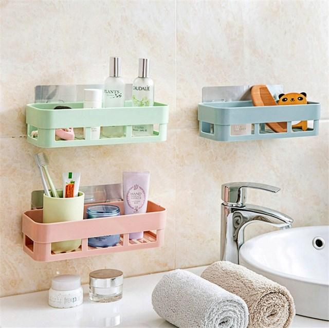 bathroom storage rack basket box cosmetic self adhesive kitchen