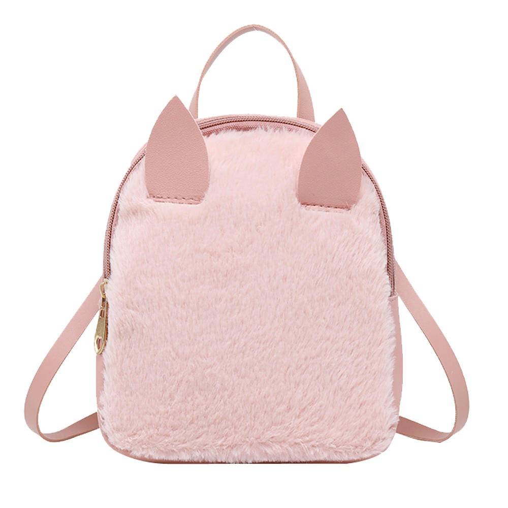 Pu Leather  Faux Rabbit Fur Backpack  Mobile Phone Bag Purse Shell Type BackpackPu Leather  Faux Rabbit Fur Backpack  Mobile Phone Bag Purse Shell Type Backpack
