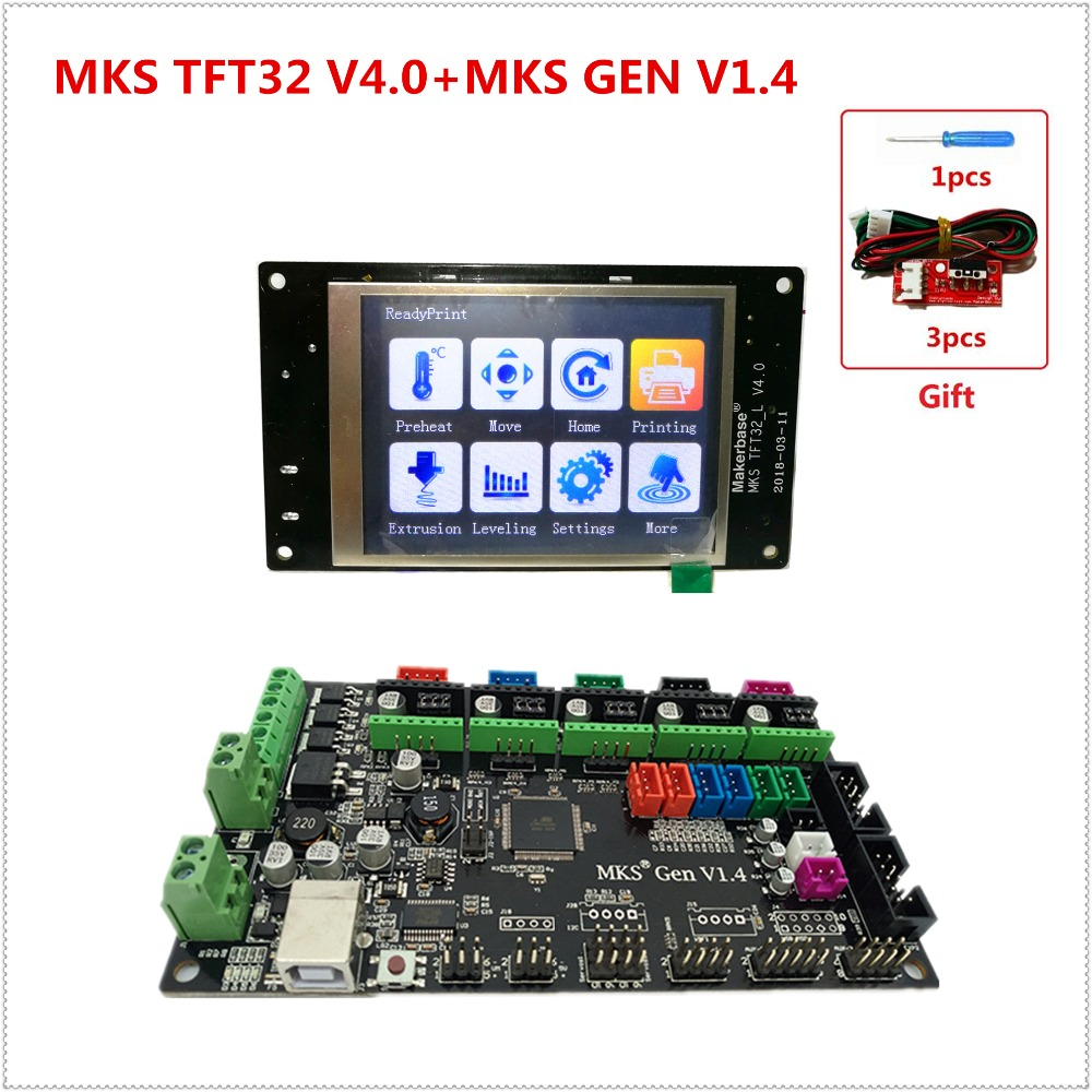 MKS GEN controller with MKS TFT32 v4.0 colorful touch screen 3d printer DIY starter kit mega2560 mainboard stm32 lcd Kossel kits 3d printer kit motherboard mks base mks tft32 touch screen all in one controller starter kits imprimante reprap control panel