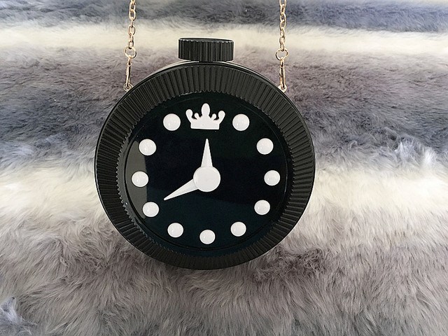 Personalized Acrylic Clock Shoulder Bag Mini Chain Pack Watch Wrapped Bag Clutch Clutch Women 's Party Bag