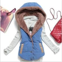New Fashion Women Cotton Vest Thicken Fleece Padded Winter Vest Hooded Jacket Patchwork Coat Cardigan Casaco Feminino Plus Size
