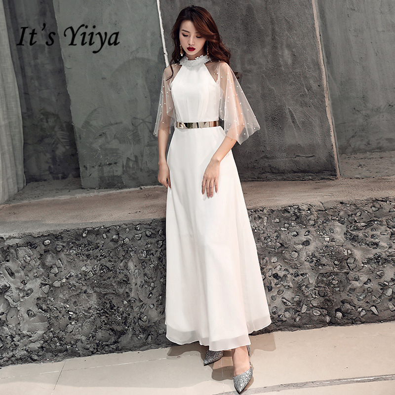 It's YiiYa   Prom   Gowns White Simple High Neck Half Sleeves Beading Lace Floor Length Customized Plus Size   Prom     Dresses   2019 E437