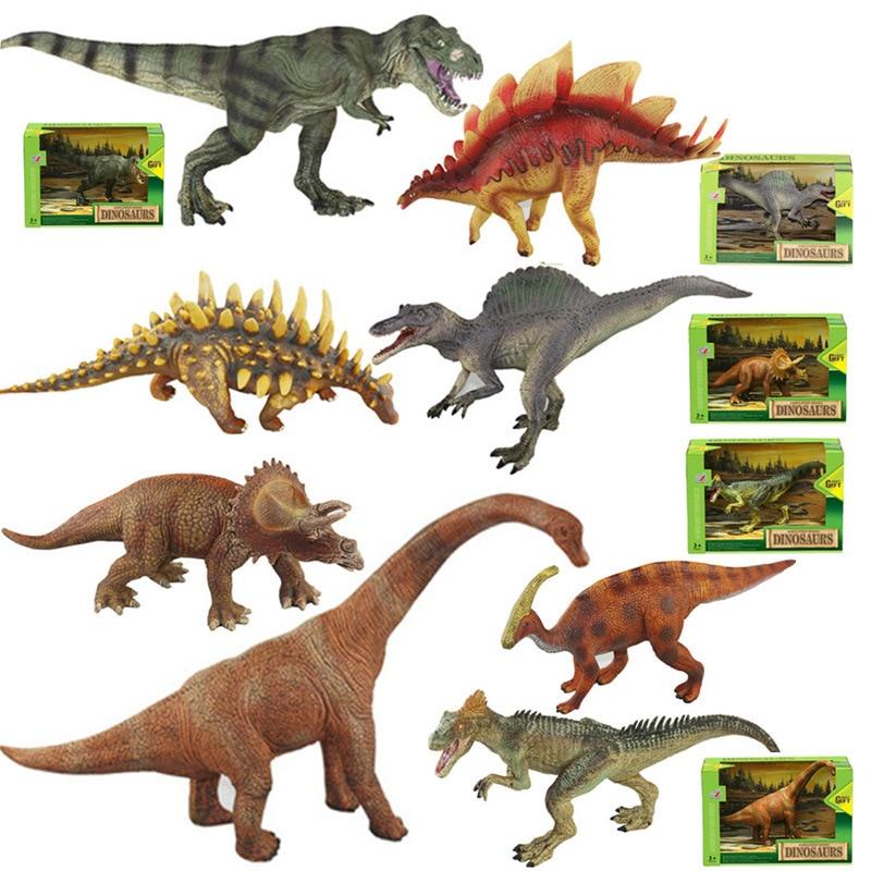 Jurassic dinosaur model simulation large solid plastic toy dinosaur Tyrannosaurus rex stegosaurus children Action Figure Toys pvc figure doll model toy solid jurassic world dinosaur toy simulation model children animal toy boy gift tyrannosaur 5 pcs set