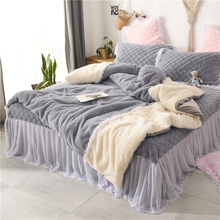 New Gray Pink Winter Thick Flannel Girl Bedding set Soft Fleece Fabric Lace Duvet Cover Bed sheet/Linen Bedspread Pillowcases pink gray white soft winter thick fleece fabric girl bedding set velvet flannel duvet cover bed linen fitted sheet pillowcases