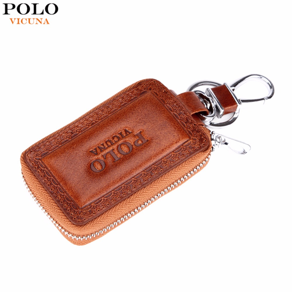 VICUNA POLO Echtes Leder Herren Autoschlüssel Geldbörse Berühmte Marke Geprägte Kante Rindsleder Schlüsselhalter Für Auto Herren Autoschlüssel Geldbörse