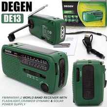 DEGEN DE13 FM AM SW Crank Dynamo Solar Power Emergency Radio Global receiver High Quality VS Tecsun PL-310ET VS Panda 6200
