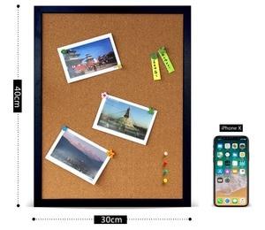 Image 2 - A3 mantar pano renkli MDF ahşap çerçeve fotoğrafları bülten tahtası mesaj hatırlatıcı panosu 30*40cm mantar Pin panoları ev aksesuarları ile