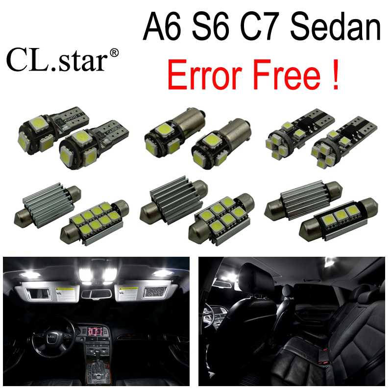 16pc X canbus Error Free LED Bulb Interior dome Light Kit Package for Audi A6 S6 RS6 C7 Quattro Sedan (2012+) 11pc x canbus error free led interior light kit package for audi a6 s6 rs6 c6 quattro sedan 2005 2011 accessories lighting bulbs