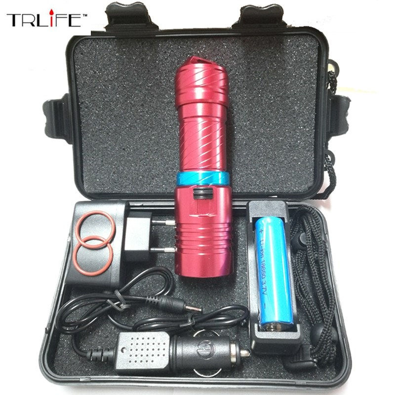 8000Lumens Dive 100 Meter XM-L2 Waterproof Underwater LED Flashlight Diving Camping Lanterna Torch Lamp With Stepless dimming