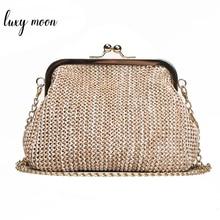 Luxy Moon Handmade Straw Clutch Tote Vintage Women Evening Bag Party Purse Wallet Beach Handbag Chain Lady Messenger Bag  ZD784