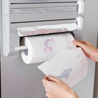 6 in 1 Kitchen Towel Paper Holder Aluminum Film Cutter Wraptastic Dispenser Cutting Foil Cling Wrap Kitchen WallHang Rack