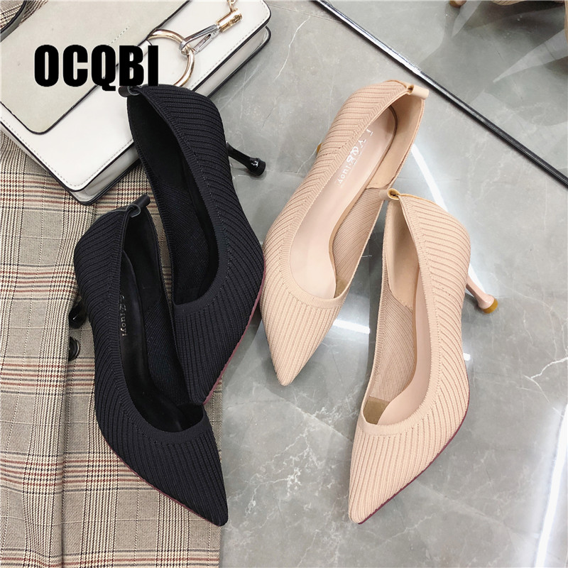 Autumn Spring Cotton Boots Fashion Elastic Farbic Sexy Party Pumps Black Nude Women Pointed Toe High Heels Mature Shoes Size 39