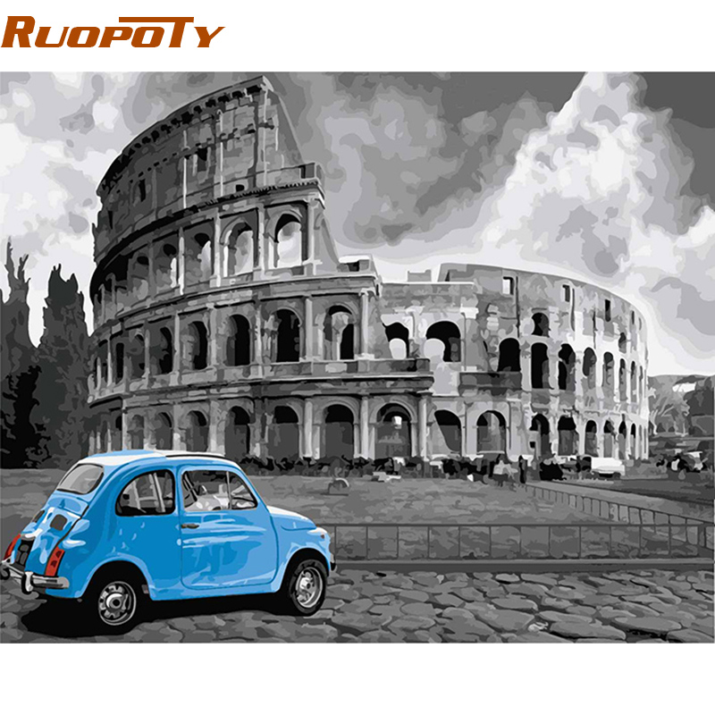 RUOPOTY Roman DIY Painting By Numbers Acrylic Paint On Canvas Modern Wall Art Picture Handpainted Oil
