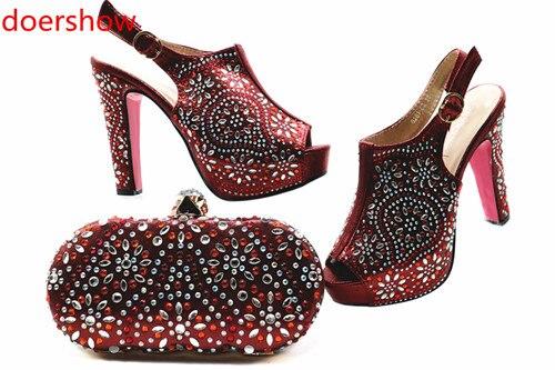 Doershow bonne chaussure et sac ensemble nouveau 2018 femmes chaussures et sac ensemble en italie vin couleur chaussures italiennes avec sacs assortis ensemble MQ1-2