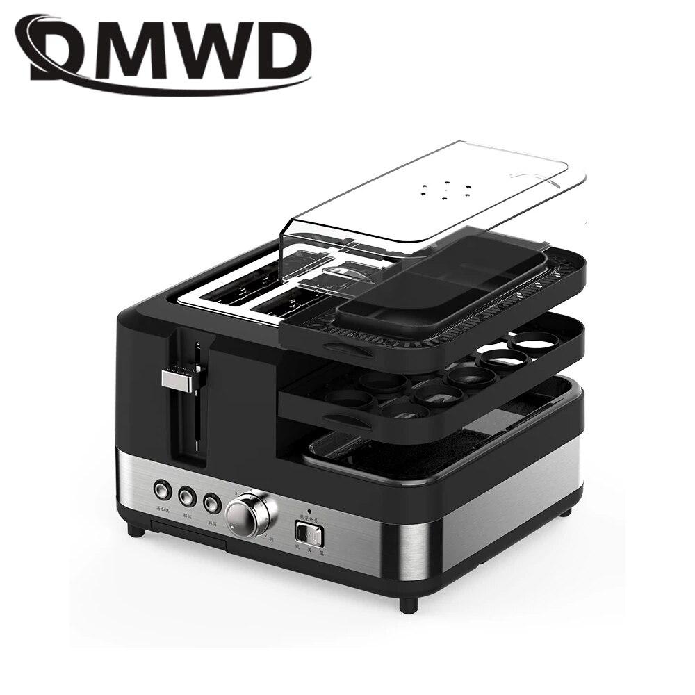 DMWD Électrique Multifonction Petit Déjeuner Machine À Pain 2 Tranches Grille-Pain Four Oeufs Vapeur saucisse Omelette poêle Grill