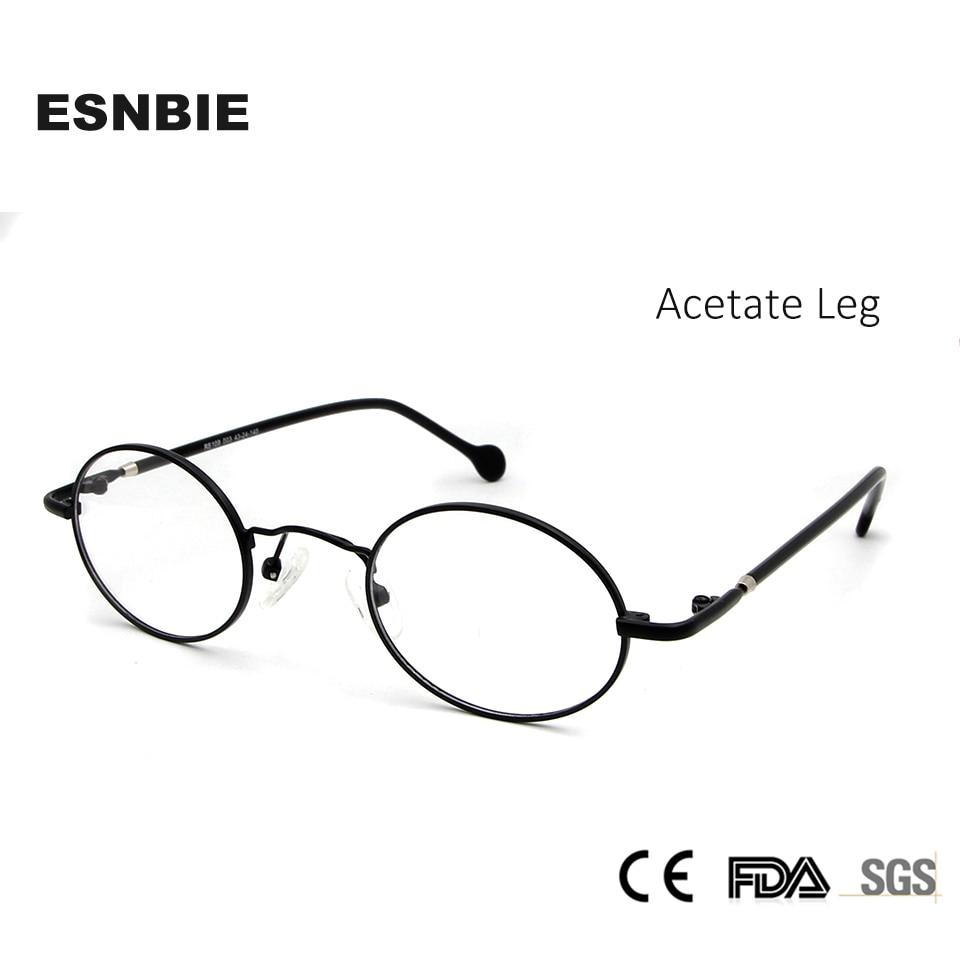1647aec37ee ESNBIE High Quality Mens Small Round Metal Eyeglass Frames Acetate Leg 43Mm  Vintag Black Circle Glasses
