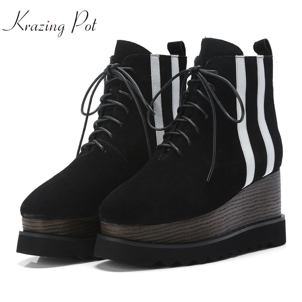 Krazing Pot 2018 cow suede platform boots thick bottom striped patterns square toe mixed color European designer ankle boots L33 bs93 l33