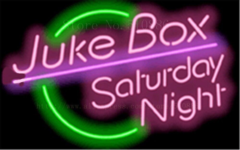 """19*15 """"jukebox Samstagabend Neonzeichen Real Glas Bier Bar Pub Licht Zeichen Shop-display Verpackung Hause Lampen Werbung Lichter Moderate Kosten"""