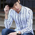 2017 New Metrosexual Men Shirt Long Sleeve Casual Turn-down Collar Single Breasted Striped Male Business Blouse Mens Shirts