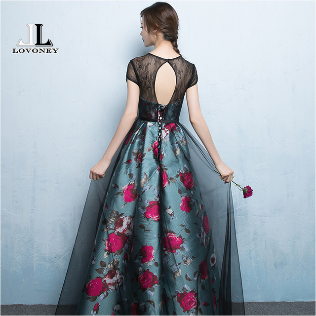 LOVONEY A Line O Neck Lace Evening Dresses Long 2019 Sexy Backless Formal Evening Gowns Women Occasion Party Dresses M247 Evening Dresses