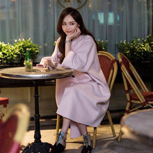 The Double Star Tiffany Tang with Pink Cashmere Coat In Winter of 2019 New Type Loose Wool Button O-Neck Jackets