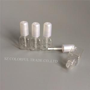 Image 3 - 300pcs/lot 5g Mini Cute Clear Plastic Empty Square Nail Polished Bottle With White Cap Brush Plastic Nail Bottle For Children