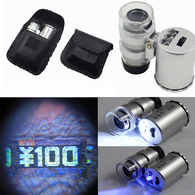 Techvilla techvilla 60X LED Light Microscope Magnifier Magnifying Glass Micro Mobile Phone Lens Camera Ultraviolet Lamp