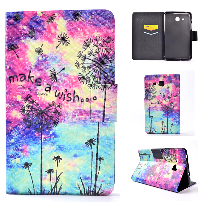 For Samsung Galaxy Tab A (2016) 7.0 SM-T280 T285 Cover Case Shell With Card Pocket Slot Holder Bag + Girl Bear Color Sea Print