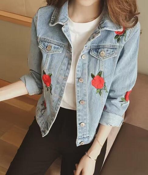 Rustic red rose flowers embroidery single breasted denim coat women jacket