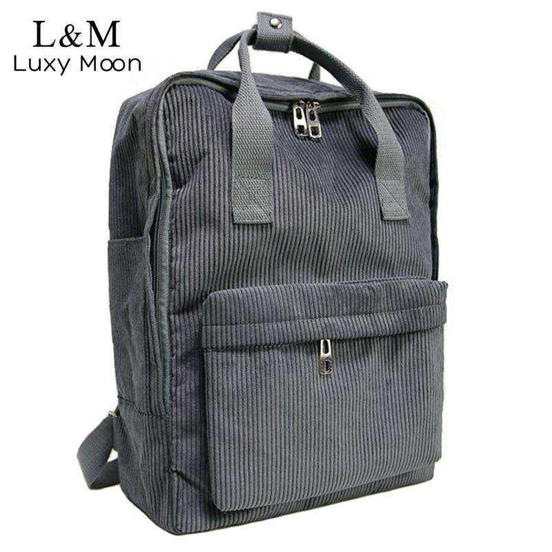 2fb2fb786e Girls Corduroy Backpack Women School Bag Harajuku Students Notebook  Backpacks Casual Teenage Black Satchel Bags mochila