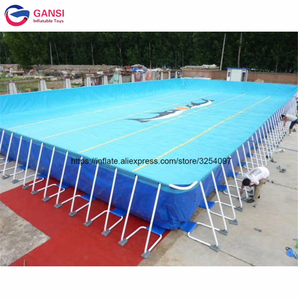 10*10*1.0m Inflatable Frame Pool With Free Sand Fliter Factory Price High Quality Inflatable Ground Metal Pool From China