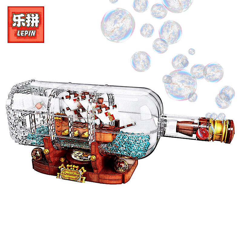 LEPIN 16051 Creative Pirates of the Caribbean Pirates Series LegoINGlys 21313 ship in the bottle Mode Building Blocks Bricks in stock 16051 1078pcs creative series the ship in the bottle lepin building blocks brick toy compatible with lego 21313 model