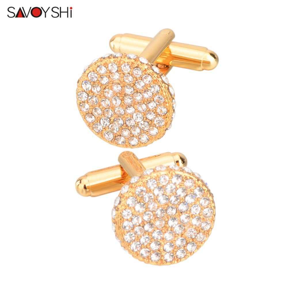 SAVOYSHI роскошные запонки с кристаллами для мужчин запонки для рубашки высокого качества круглый золотой цвет запонки бренд ювелирный свадебный подарок