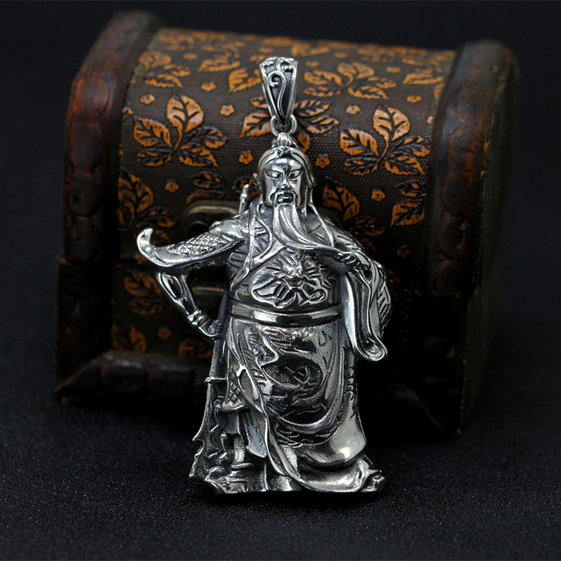 S925 pure silver jewelry wholesale to restore ancient ways the duke guan hollow out man pendant thailand hollow out carve patterns or designs on woodwork restoring ancient ways is pure silver key pendant
