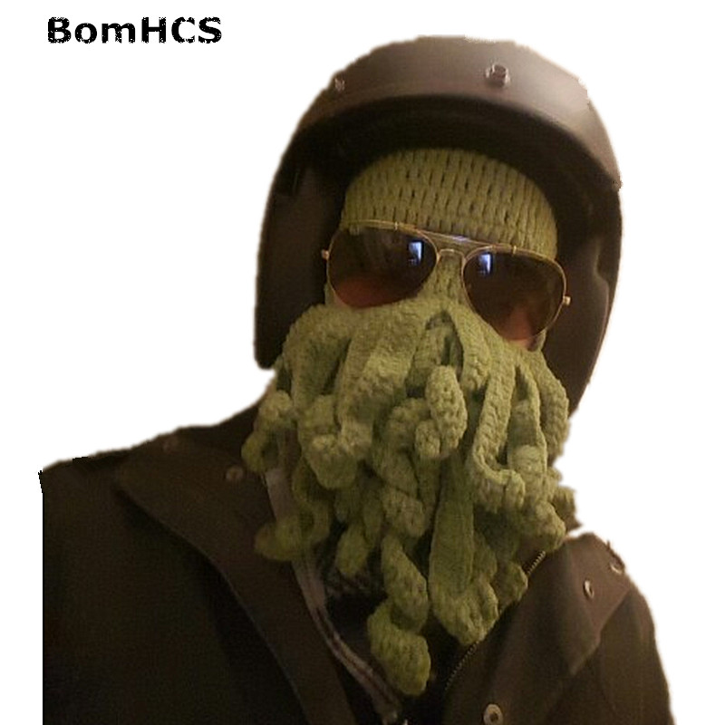 BomHCS Novetly Tentacle Octopus Pirate Cthulhu Crochet Beanie Hat Wind Mask Cap