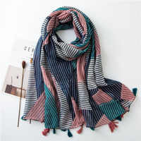 Stripe Women Scarf Design Color matched Fashion Voile Shawls Large Blanket Tassels Hijab [3591]