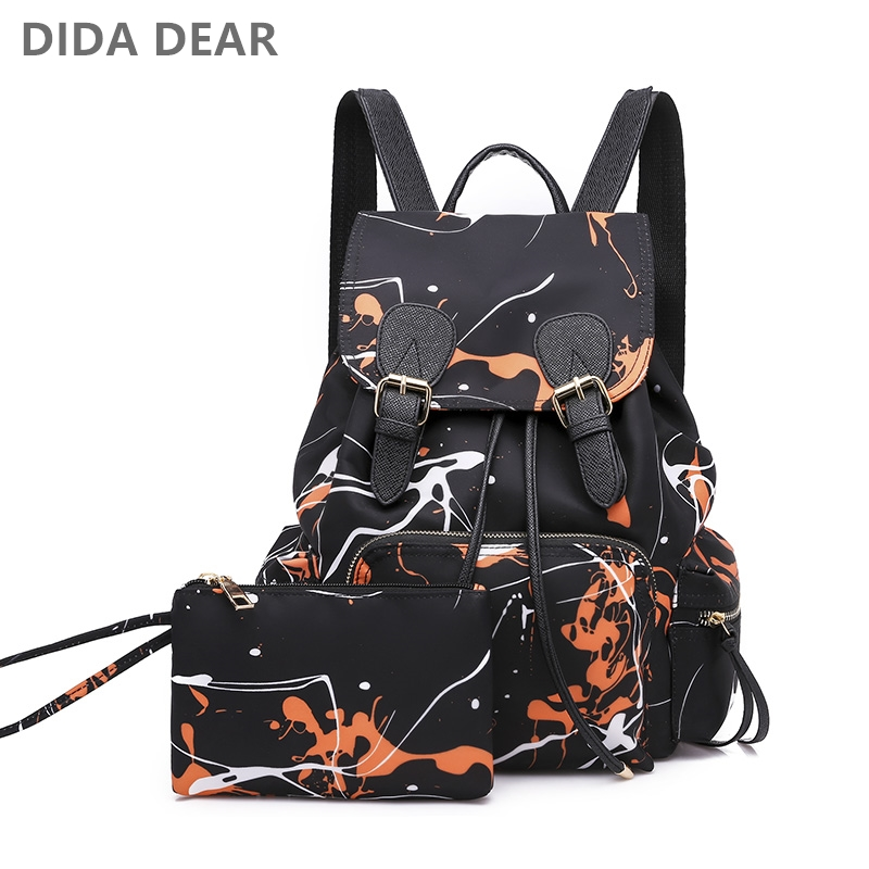Fashion 2pcs Set Bag Women Nylon Backpack School Backpacks For Teenage Girls Female Rucksack Bolsas Mochilas Floral Shoulder Bag tegaote new design women backpack bags fashion mini bag with monkey chain nylon school bag for teenage girls women shoulder bags