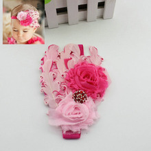 Wholesale Newborn Girls Elastic Headband Feather New Born Girls Hair Bows Weave Band Kids Hair Accessories