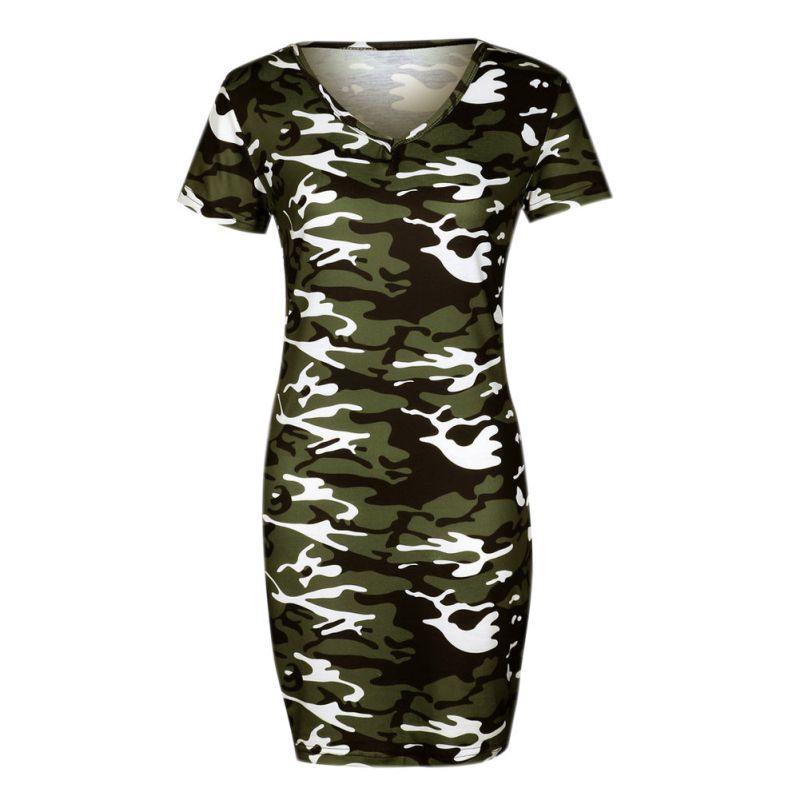 Casual V Mouw Nieuwe Vrouwen Korte Jurk Hals Camouflage 1cTl3FJK