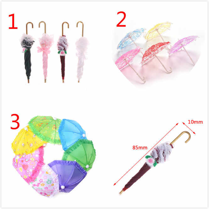 1PCS Umbrella Doll Accessories Doll Plastic Lace Umbrella for Dolls Toy Furniture Accessory Chiffon Umbrellas