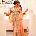 Abaya Dubai Marroquí Caftanes Caftán Dubai Con Cuentas Una Línea de Vestido De Fiesta De Casamento Manga Larga Árabes vestidos de Noche Vestidos