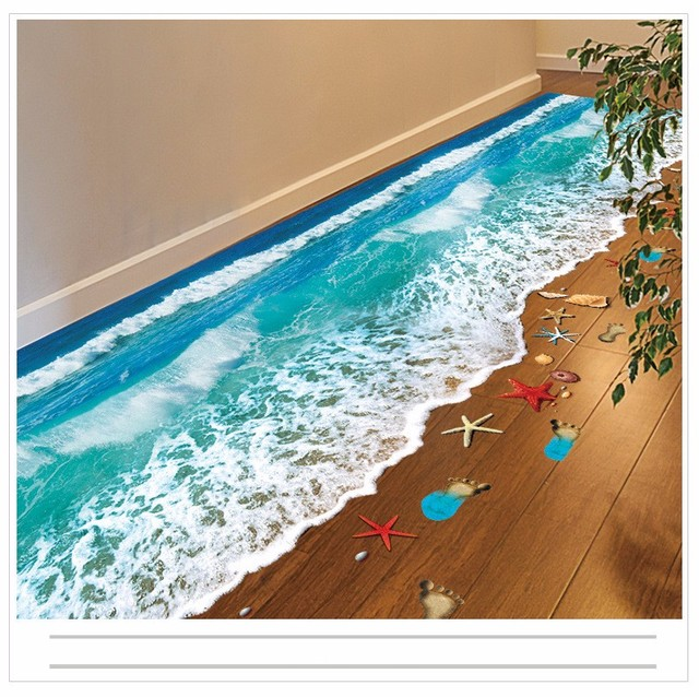 Hot Creative 3D Wall Stickers Starfish Footprint Beach And Blue Seaside  Bathroom Floor Sticker Kids Wall