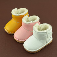 Baby First Walkers Baby Snow Boots Genuine Leather Warm Boots Winter Snow Boots For Babies