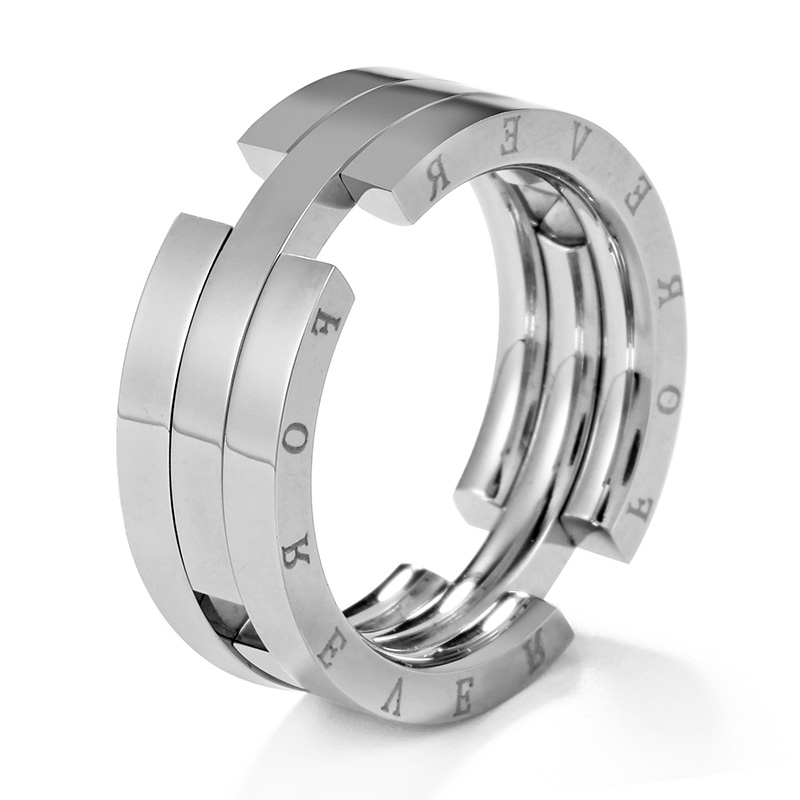 Stainless Steel Geometric Fish Link Flat Band Ring