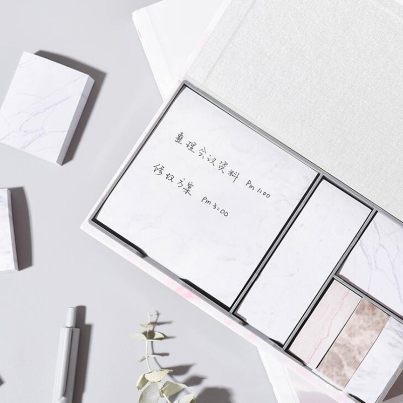Marble Self Adhesive Memo Pad Sticky Notes Box Bookmarker Point It Marker School Office Stationery Supply Sticker Study Paper in Memo Pads from Office School Supplies